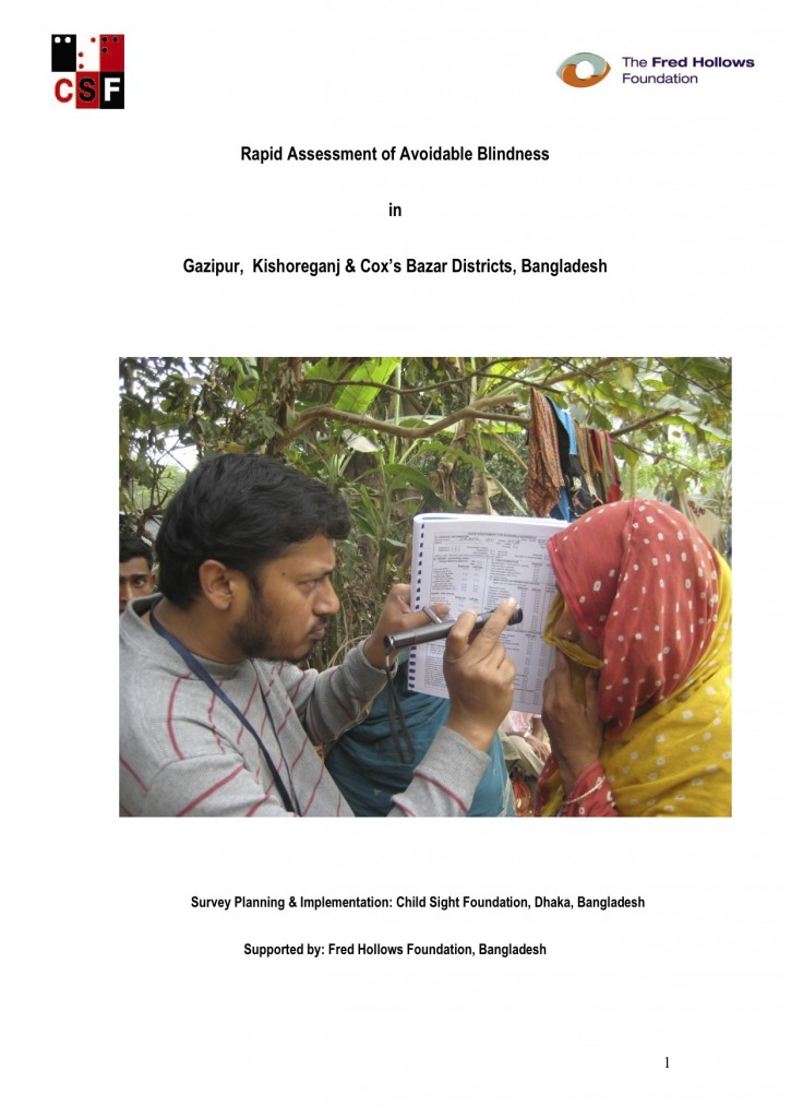 Rapid Assessment of Avoidable Blindness in Gazipur, Kishoreganj & Cox's Bazar Districts, Bangladesh COVER IMAGE